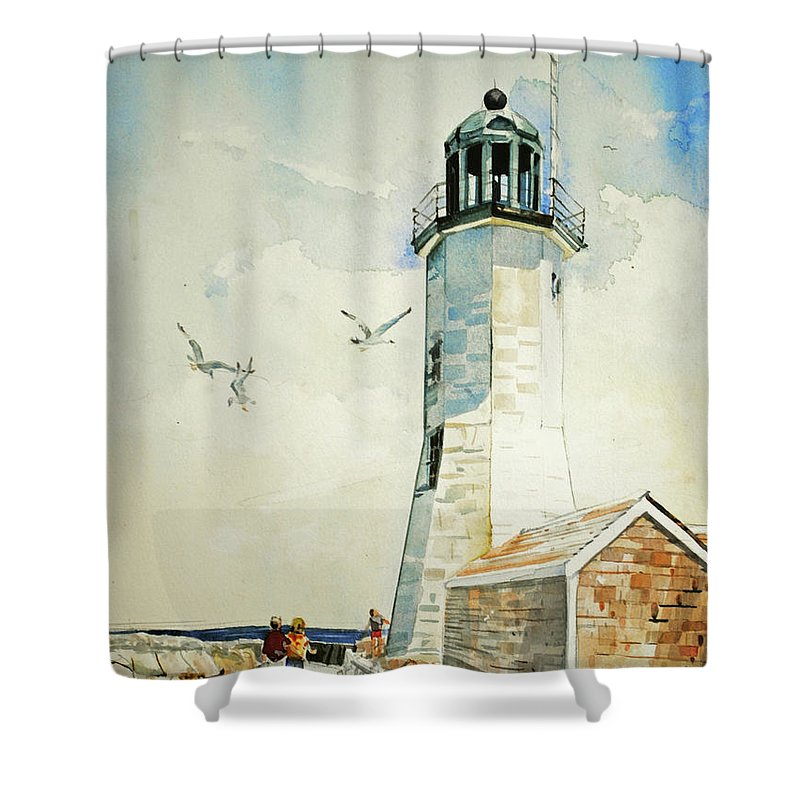 Scituate Light Shower Curtain featuring the painting Scituate Light by P Anthony Visco