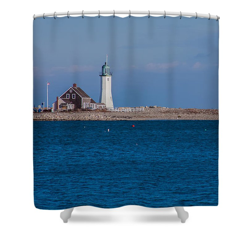 Lighthouse Shower Curtain featuring the photograph Scituate Lighthouse From Across The Harbor by Brian MacLean