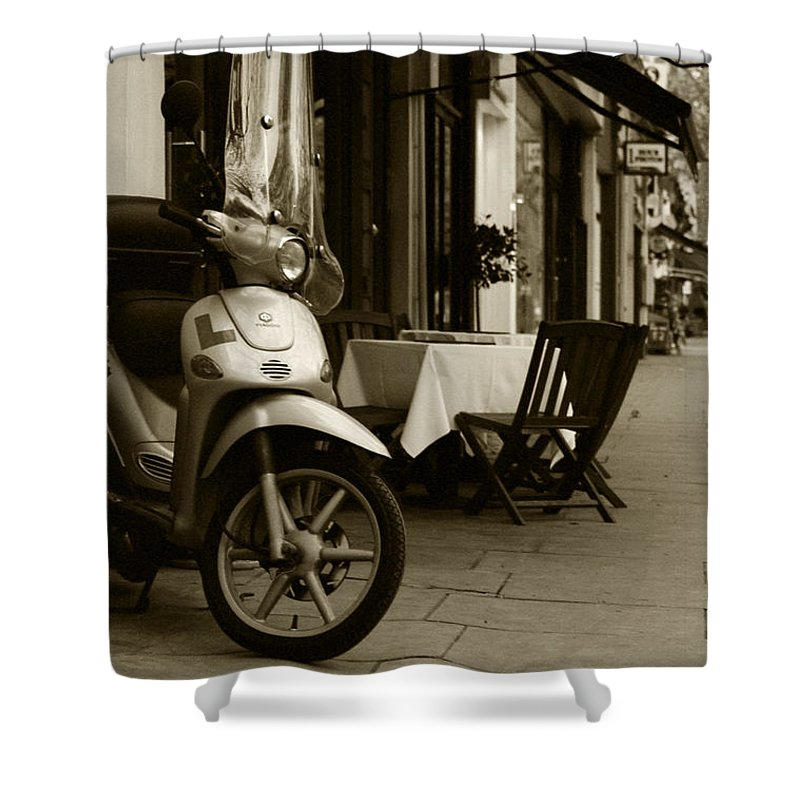 Scooter Shower Curtain featuring the photograph Scooter Cafe by Ayesha Lakes