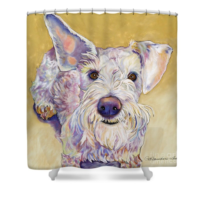 Schnauzer Shower Curtain featuring the pastel Scooter by Pat Saunders-White