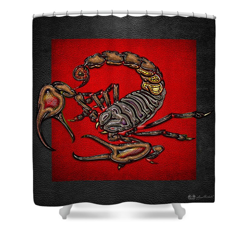 Beasts Of The Wild By Serge Averbukh Shower Curtain featuring the photograph Scorpion On Red And Black by Serge Averbukh