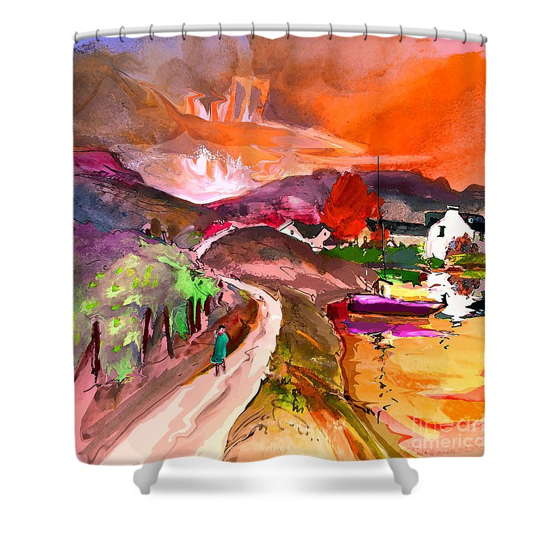 Scotland Paintings Shower Curtain featuring the painting Scotland 02 by Miki De Goodaboom