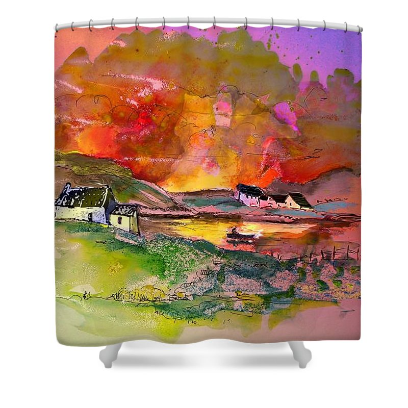 Scotland Paintings Shower Curtain featuring the painting Scotland 07 by Miki De Goodaboom