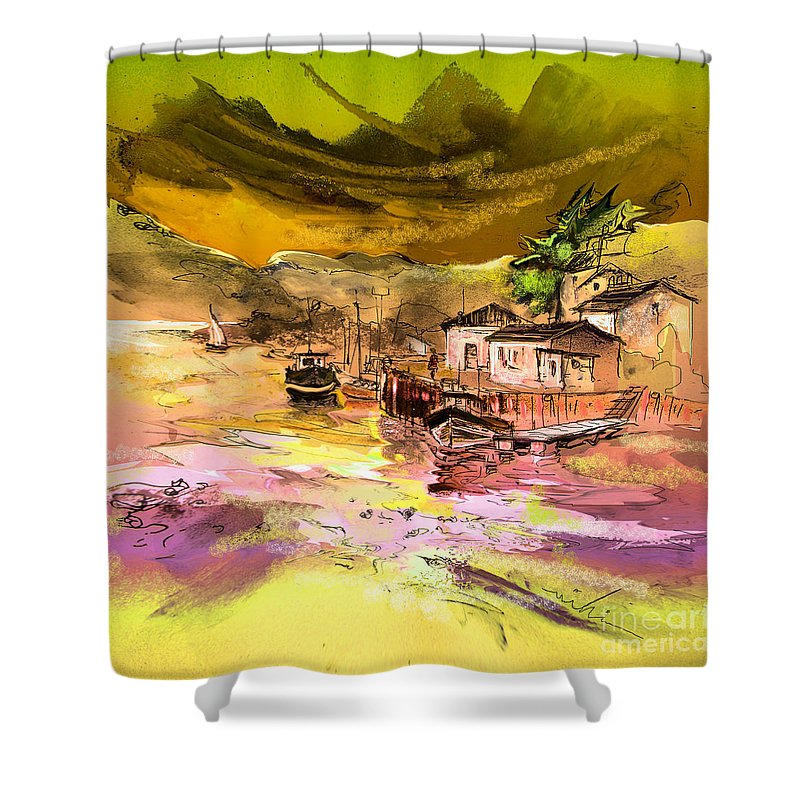 Scotland Paintings Shower Curtain featuring the painting Scotland 14 by Miki De Goodaboom