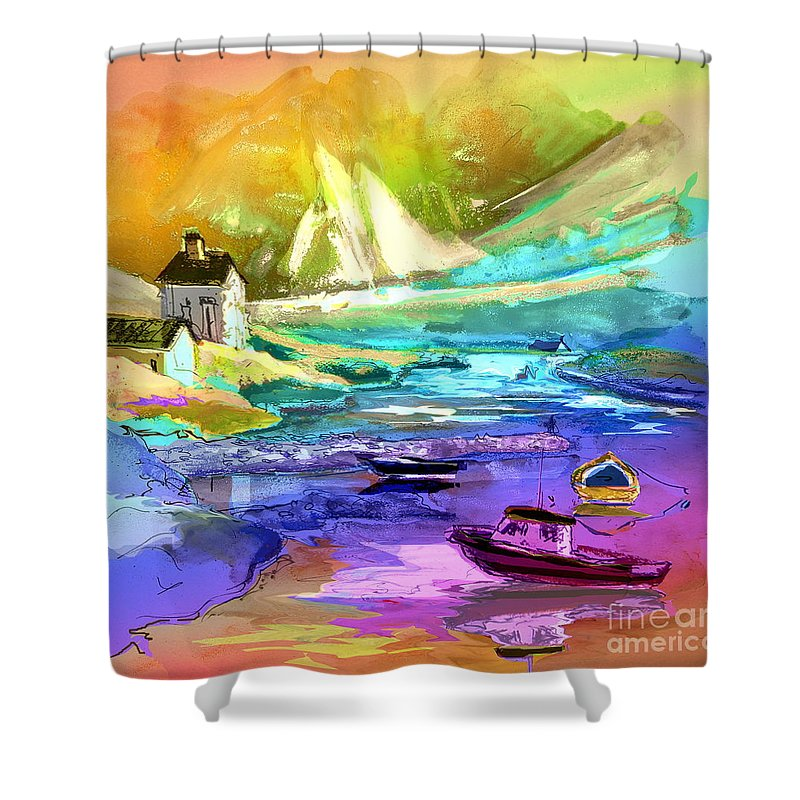 Scotland Paintings Shower Curtain featuring the painting Scotland 15 by Miki De Goodaboom