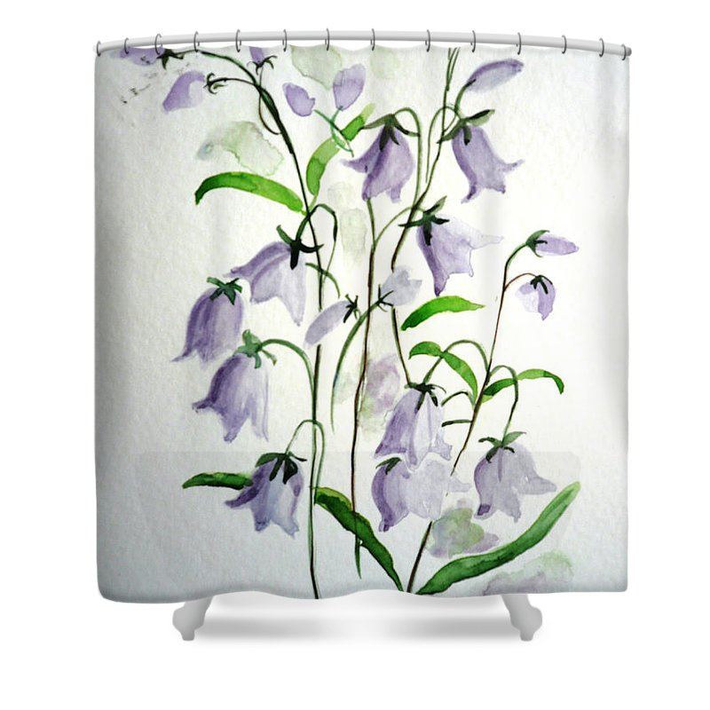 Blue Bells Hare Bells Purple Flower Flora Shower Curtain featuring the painting Scottish Blue Bells by Karin Dawn Kelshall- Best