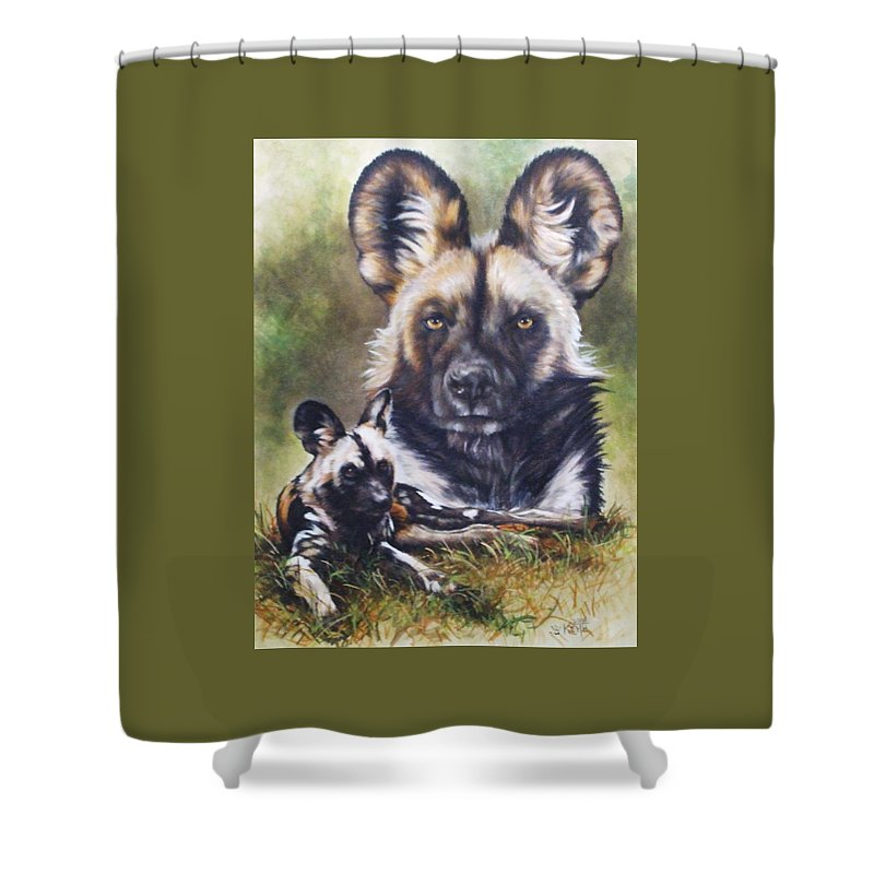 Wild Dogs Shower Curtain featuring the mixed media Scoundrel by Barbara Keith