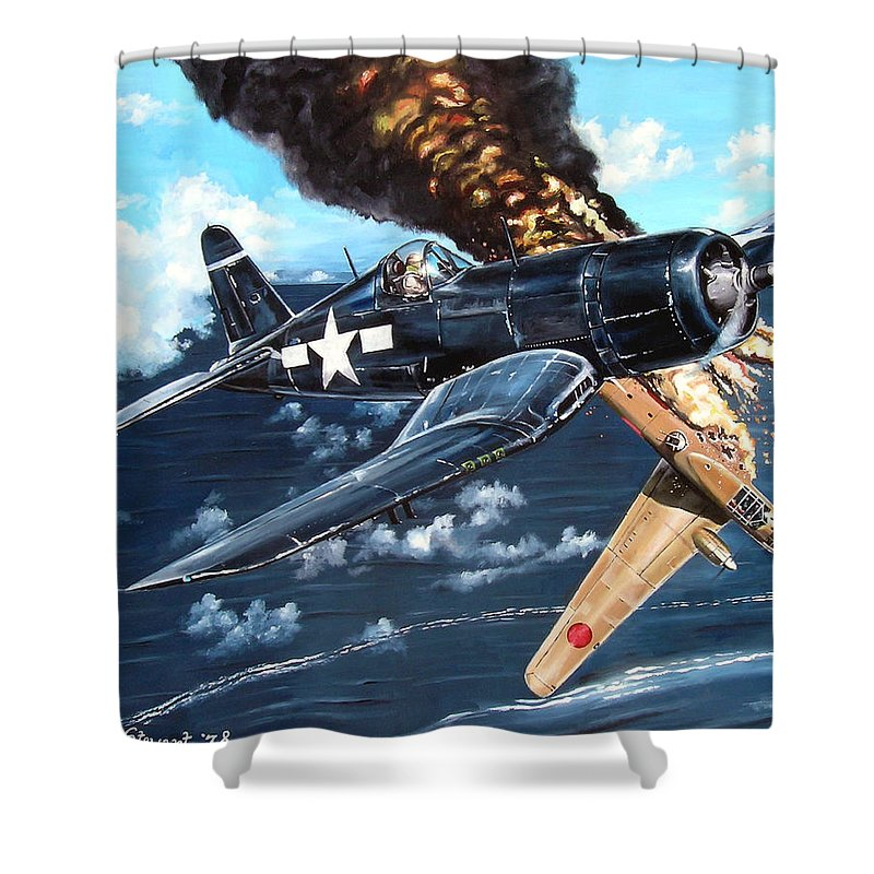 Military Shower Curtain featuring the painting Scratch One Betty by Marc Stewart