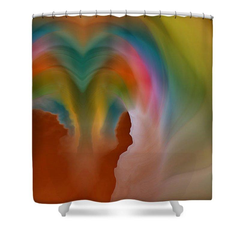 Abstract Art Shower Curtain featuring the digital art Scream by Linda Sannuti