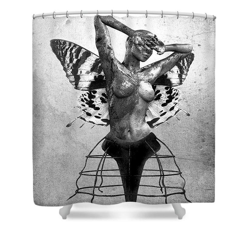 Photodream Shower Curtain featuring the digital art Scream Of A Butterfly II by Jacky Gerritsen