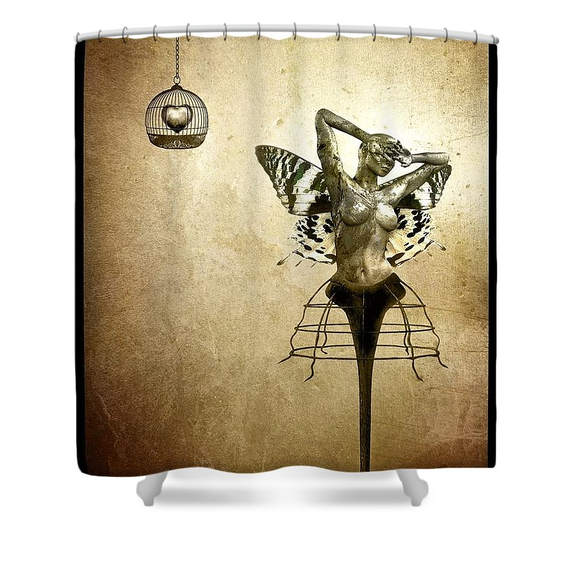 Digital Shower Curtain featuring the painting Scream Of A Butterfly by Jacky Gerritsen