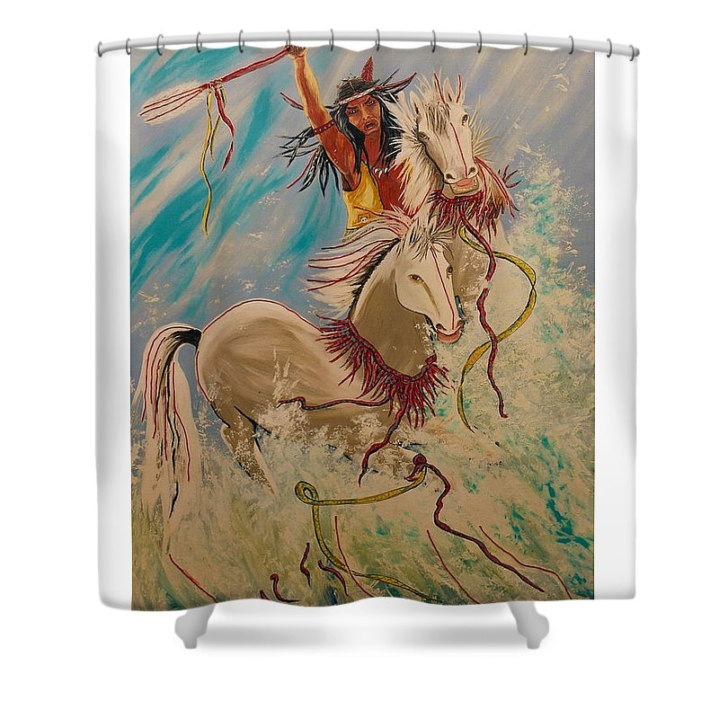 Horses Shower Curtain featuring the painting Scream Of Peace by V Boge