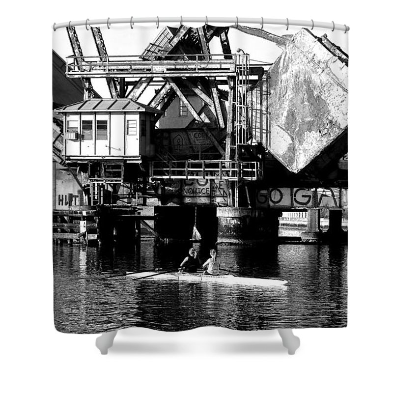 Sculling Shower Curtain featuring the painting Sculling For Two by David Lee Thompson