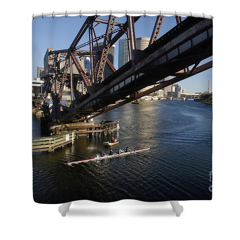 Sculling Shower Curtain featuring the photograph Sculling The Hillsborough by David Lee Thompson