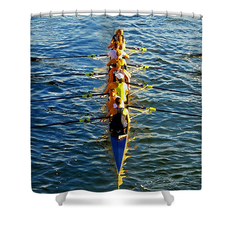 Females Shower Curtain featuring the photograph Sculling Women by David Lee Thompson