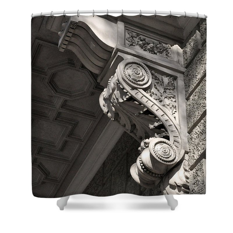 Sculpted Shower Curtain featuring the photograph Sculpted Balcony Bracket Budapest by James Dougherty