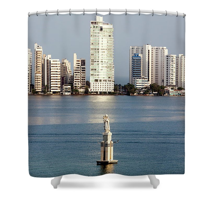 Sculpture Shower Curtain featuring the photograph Sculpture On A Water by Ramunas Bruzas