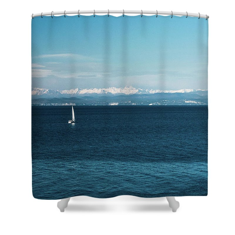 Landscape Shower Curtain featuring the photograph Sea And Snowy Alps by Jaka Korla