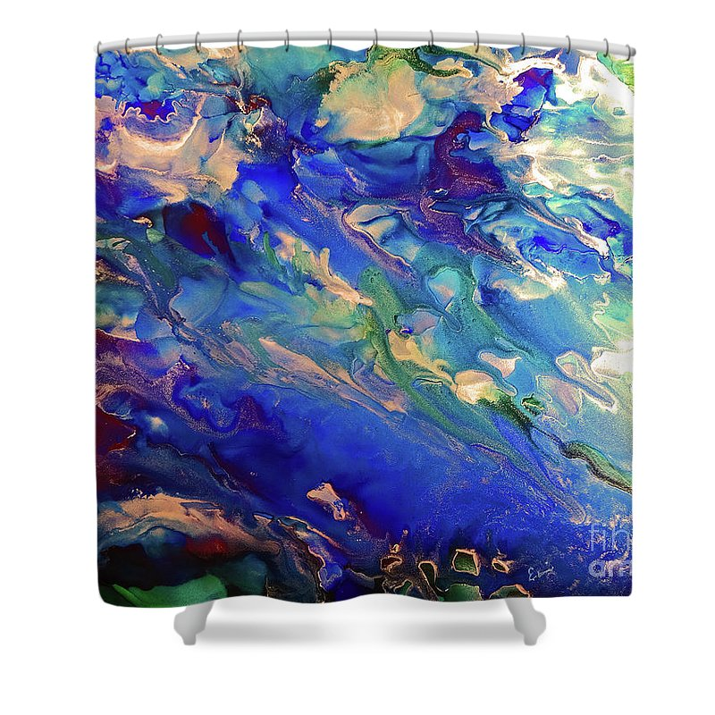 Sea Shower Curtain featuring the painting Sea Avalanche 5 by Eunice Warfel