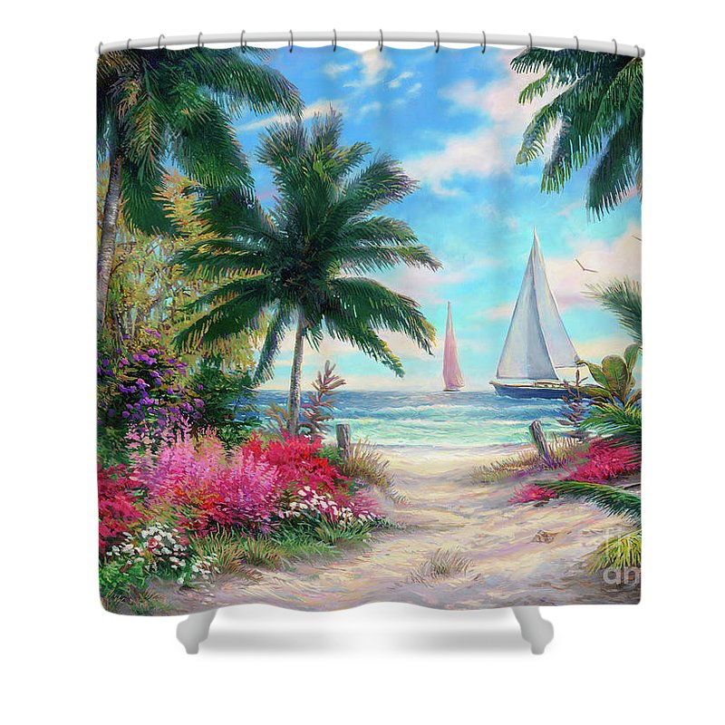 Tropical Shower Curtain featuring the painting Sea Breeze Trail by Chuck Pinson