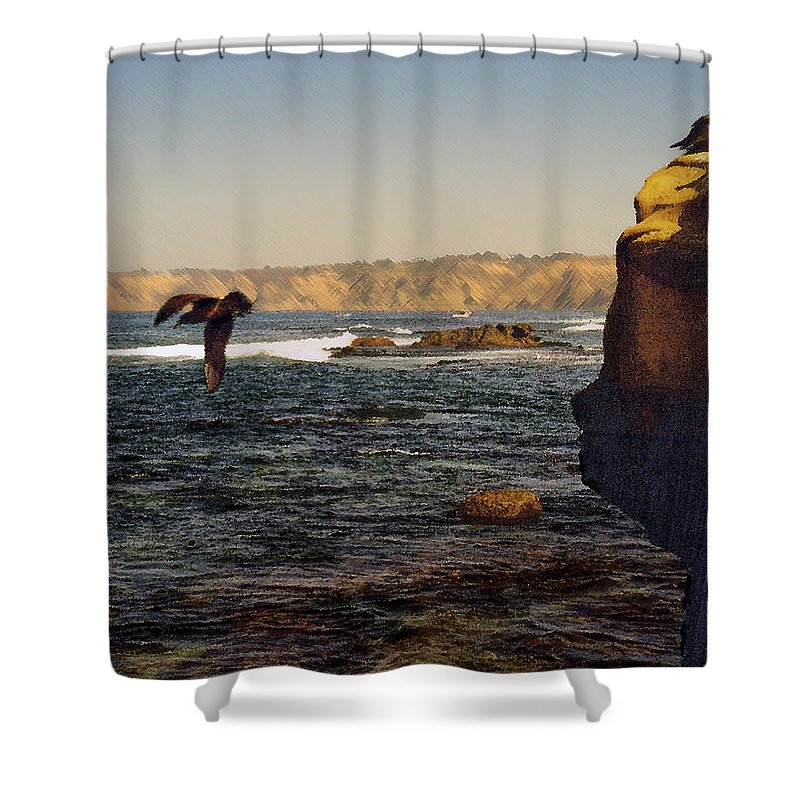 Ocean Shower Curtain featuring the digital art Sea Cliff by Steve Karol