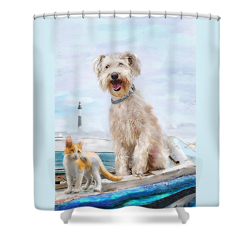 Jane Schnetlage Shower Curtain Featuring The Digital Art Sea Dog And Cat By