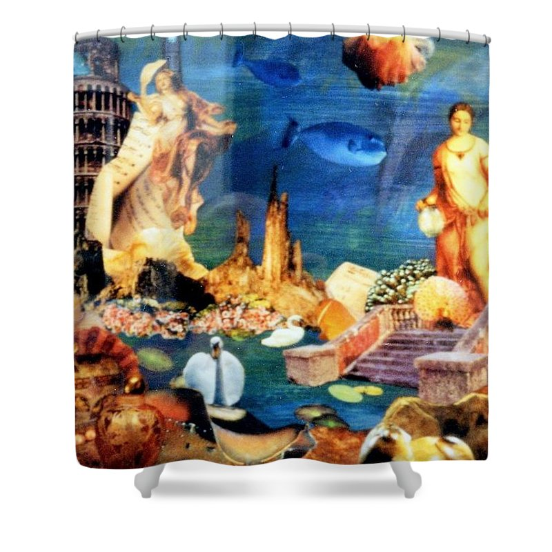 Fantasy Shower Curtain featuring the painting Sea Garden by Gail Kirtz