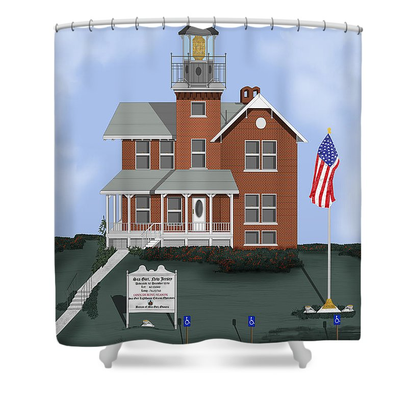 Lighthouse Shower Curtain featuring the painting Sea Girt New Jersey by Anne Norskog