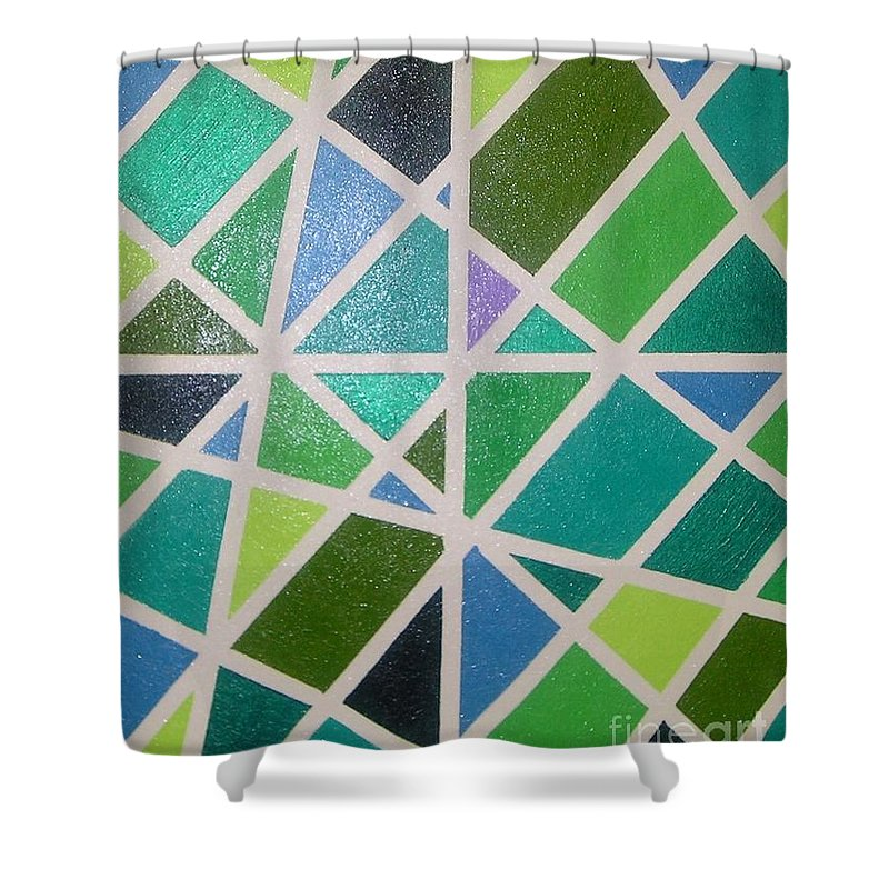 Green Shower Curtain featuring the painting Sea Glass Revisited by Maria Bonnier-Perez