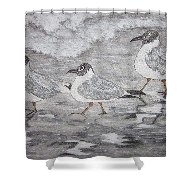 Sea Gulls Shower Curtain featuring the painting Sea Gulls Dodging The Ocean Waves by Kathy Marrs Chandler