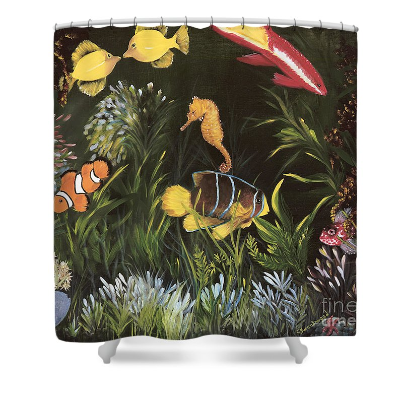 Sea Shower Curtain featuring the painting Sea Harmony by Carol Sweetwood
