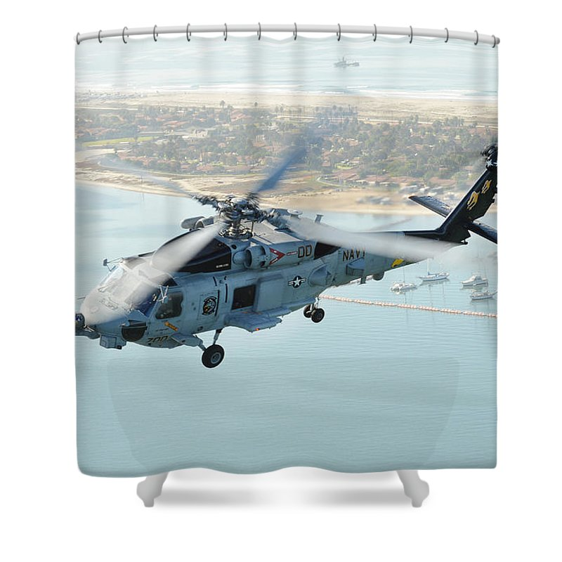 Mh-60r Sea Hawk Helicopter Flies Over San Diego Shower Curtain featuring the painting Sea Hawk Helicopter Flies Over San Diego by Celestial Images