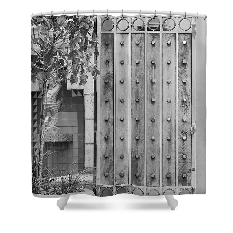 Black And White Shower Curtain featuring the photograph Sea Horse Gate by Rob Hans