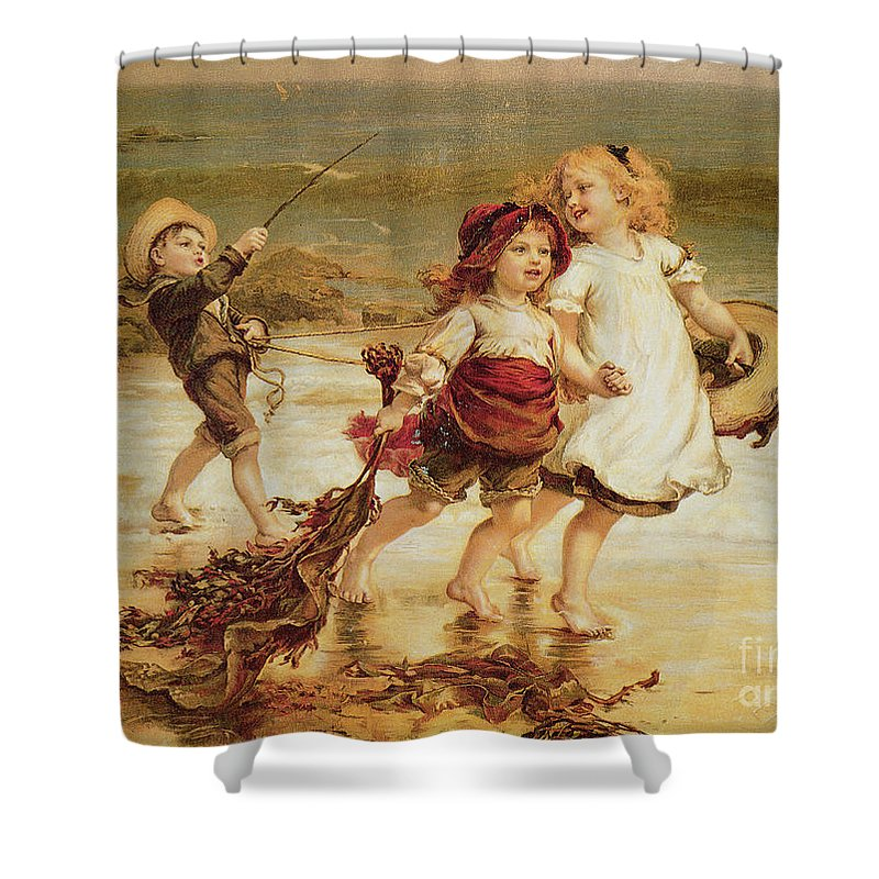 Sea Shower Curtain featuring the painting Sea Horses by Frederick Morgan