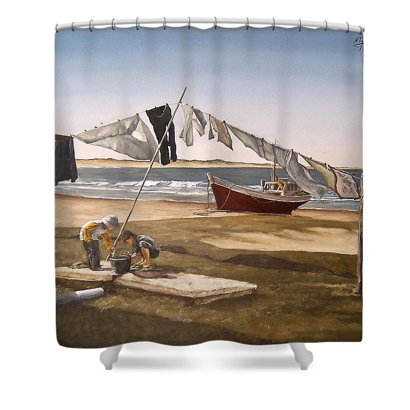 Kids Seascape Boat Painting Portrait Figurative Seascape Sea Shower Curtain featuring the painting Sea Kids by Natalia Tejera
