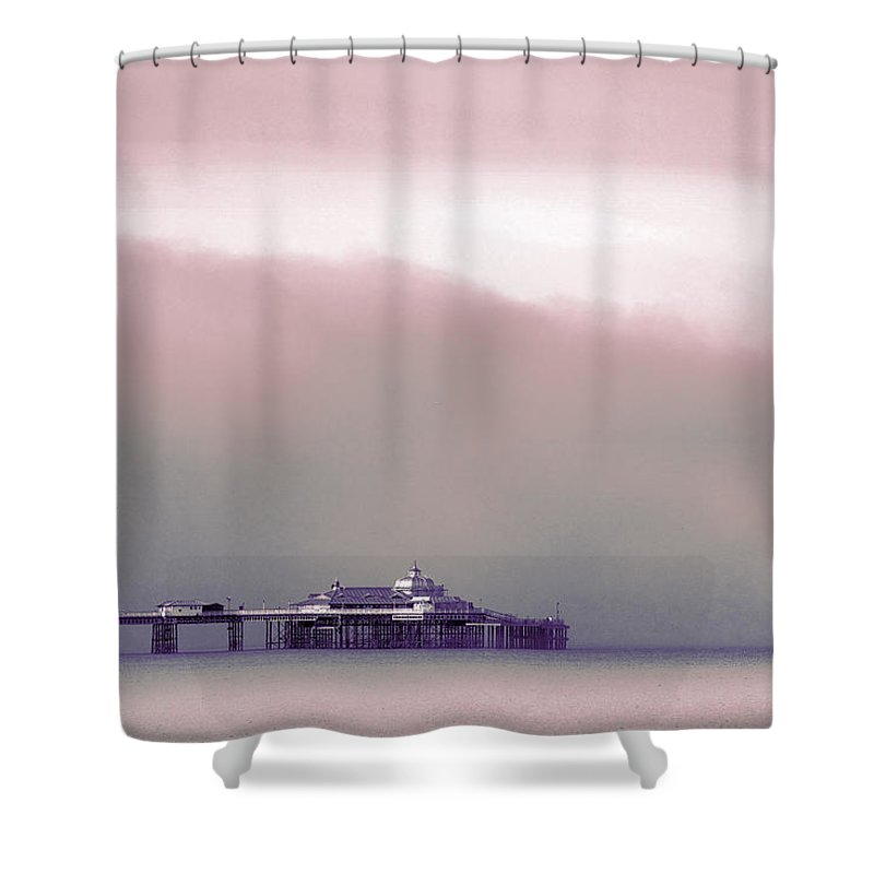 Pier Shower Curtain featuring the photograph Sea Mist Replaces The Great Orme As The Backdrop To Llandudno Pier by Mal Bray
