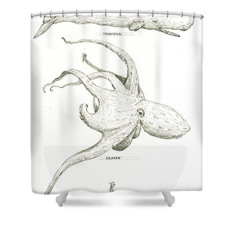 Kraken Shower Curtain Featuring The Painting Sea Monsters And Moby Dick By Juan Bosco