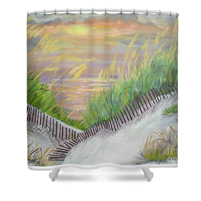 Seascape Shower Curtain featuring the painting Sea Oats by Hal Newhouser