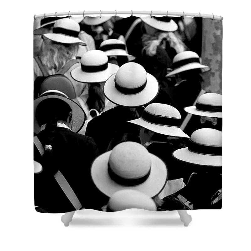 Hats Schoolgirls Shower Curtain featuring the photograph Sea Of Hats by Sheila Smart Fine Art Photography