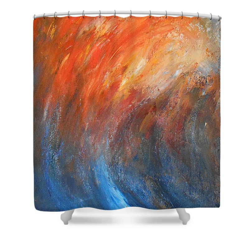 Abstract Shower Curtain featuring the painting Sea Of Passion by Jane See