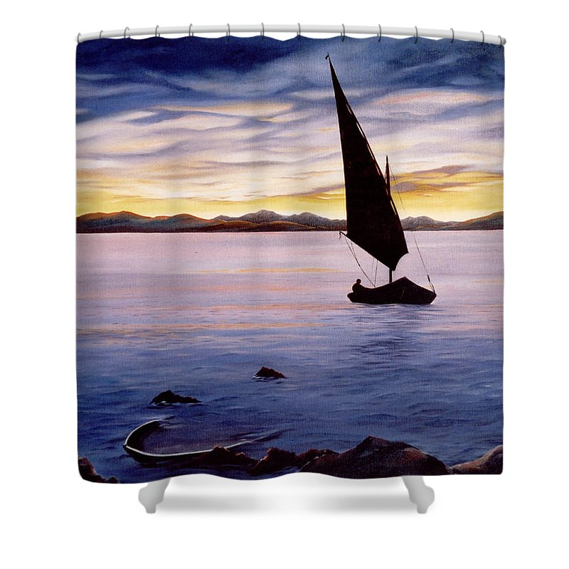 Seascape Shower Curtain featuring the painting Sea Of Souls by Mark Cawood