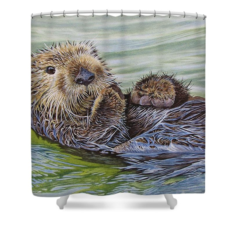 Otter Shower Curtain Featuring The Painting Sea By Greg And Linda Halom