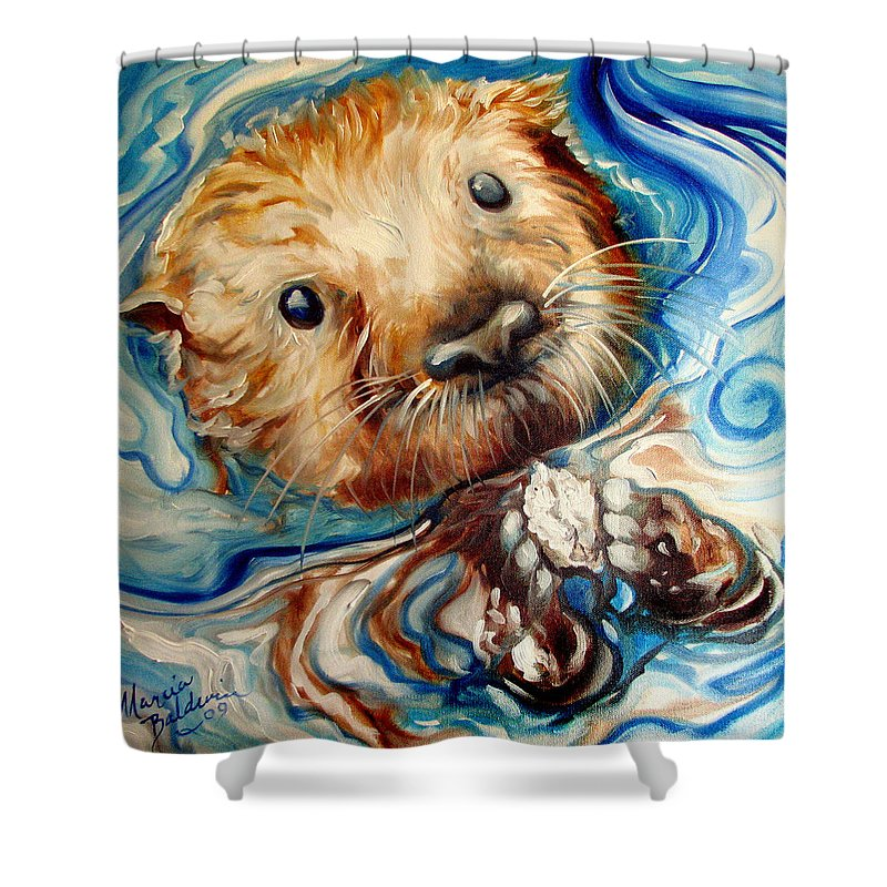 Otter Shower Curtain Featuring The Painting Sea Swim By Marcia Baldwin