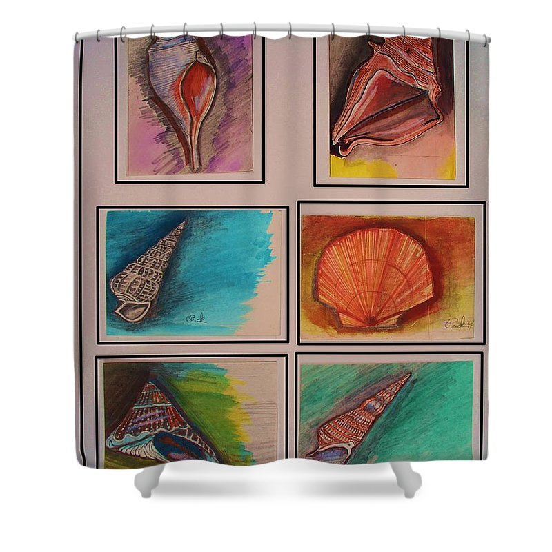 Sea Shower Curtain featuring the painting Sea Shells by Eric Schiabor