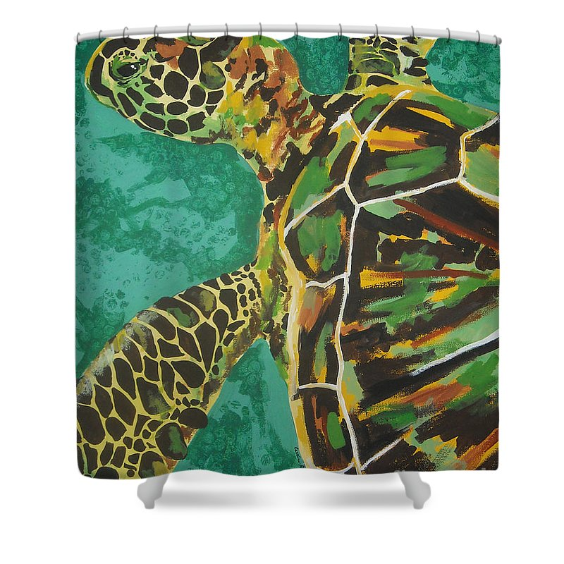 Turtle Shower Curtain featuring the painting Sea Turtle by Caroline Davis