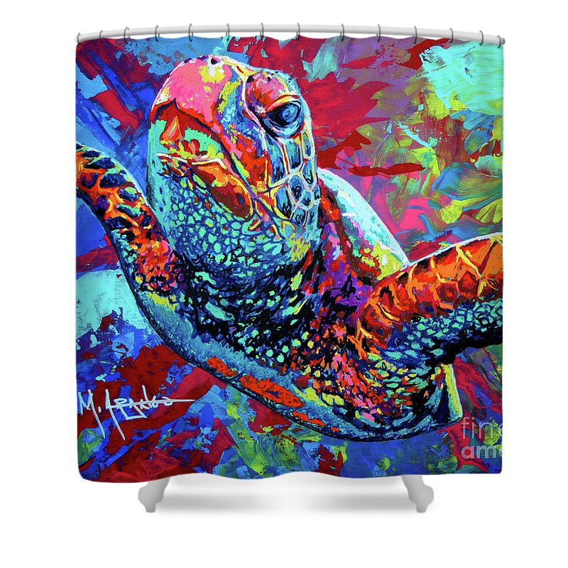 Sea Turtle Shower Curtain Featuring The Painting By Maria Arango
