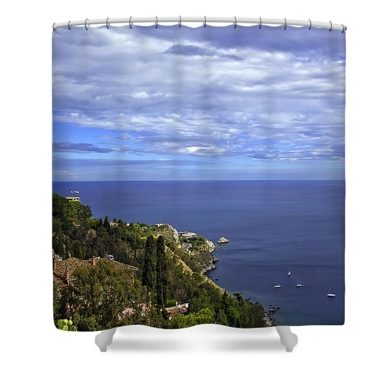 Landscape Shower Curtain featuring the photograph Sea View From Taormina by Madeline Ellis