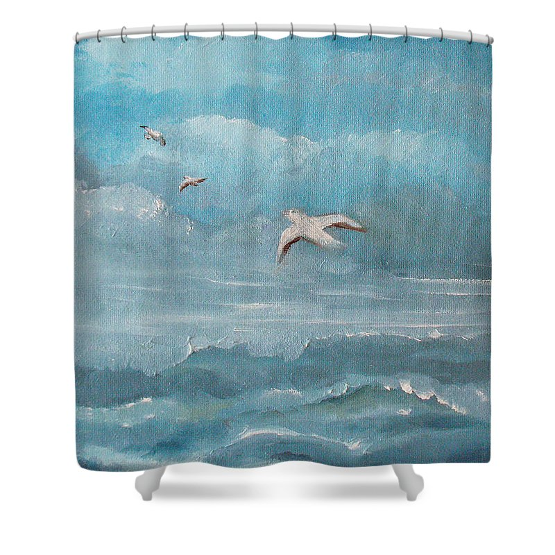 Seascape Shower Curtain featuring the painting Seabirds by Catherine Sprague