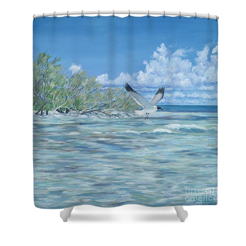 Seascape Shower Curtain featuring the painting Seablue by Danielle Perry