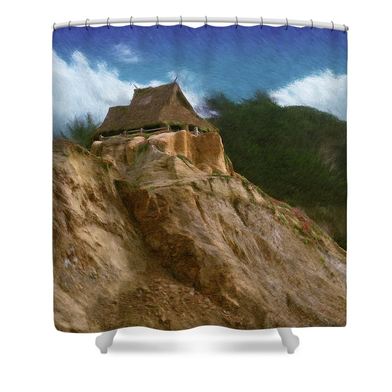 Seaside Shower Curtain featuring the painting Seacliff House by Geoffrey C Lewis